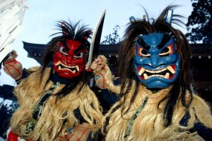 OGA, JAPAN - FEBRUARY 13: Young men disguised as ogres appear at Shinzan shrine during Namahage Festival February 13, 2004 in Oga, Japan. The festival is meant to ward off bad spirits and bring good luck. (Photo by Junko Kimura/Getty Images)
